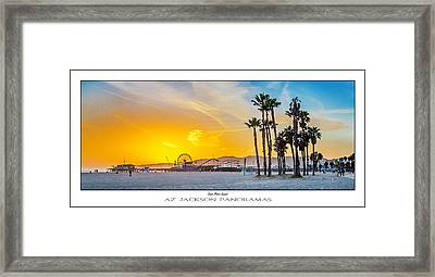 Santa Monica Sunset Poster Print Framed Print by Az Jackson