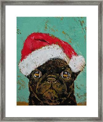 Santa Pug Framed Print