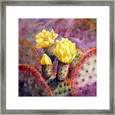 Framed Print featuring the painting Santa Rita Prickly Pear Cactus by Marilyn Smith