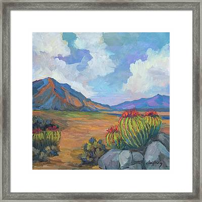 Santa Rosa Mountains And Barrel Cactus Framed Print by Diane McClary