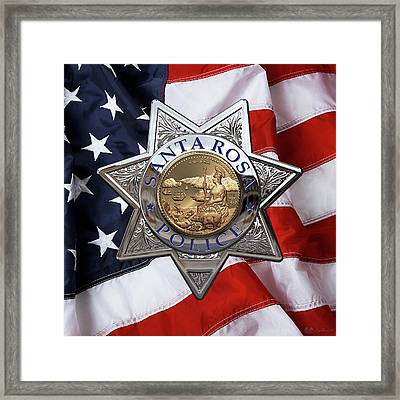 Santa Rosa Police Departmen Badge Over American Flag Framed Print by Serge Averbukh