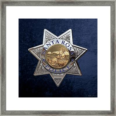 Santa Rosa Police Department Badge Over Blue Velvet Framed Print by Serge Averbukh