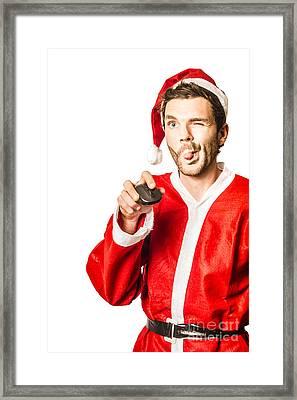 Santa Shopping Online For Xmas Presents Framed Print