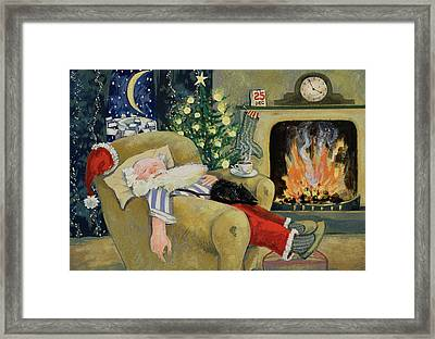 Santa Sleeping By The Fire Framed Print