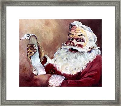 Santa With A List Framed Print by Sheila Kinsey