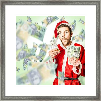 Santa With Australian Money At Christmas Sales Framed Print