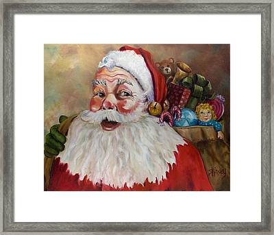 Santa With Bag Of Toys Framed Print by Sheila Kinsey