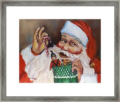 Santa With Stocking Framed Print by Sheila Kinsey