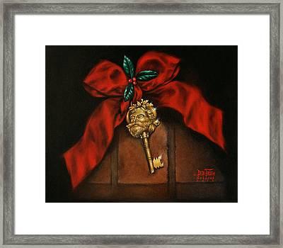 Santa's Key Framed Print by Debi Frueh