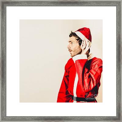 Santas Little Helper Listening To Christmas Orders Framed Print by Jorgo Photography - Wall Art Gallery