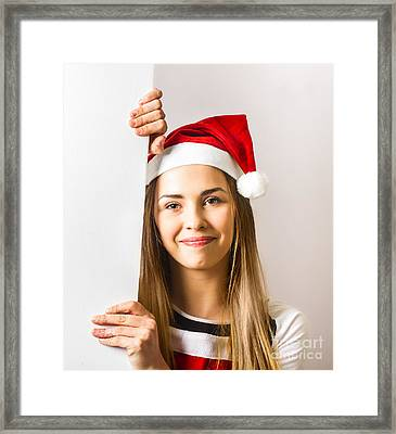 Santas Little Helper Showing Blank Christmas Sign Framed Print by Jorgo Photography - Wall Art Gallery