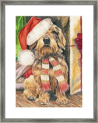 Framed Print featuring the drawing Santas Little Yelper by Barbara Keith