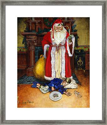 Santas Littlest Helper Framed Print