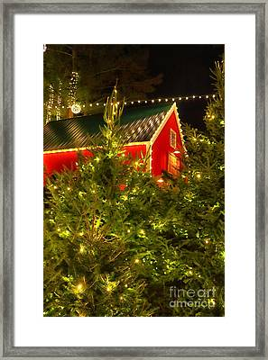 Santa's Red Barn Framed Print by Elizabeth Dow