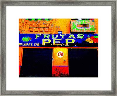 Santiago Funky Fruit Shop Framed Print