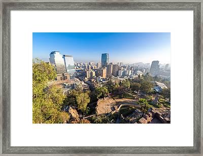 Santiago Skyline And Park Framed Print