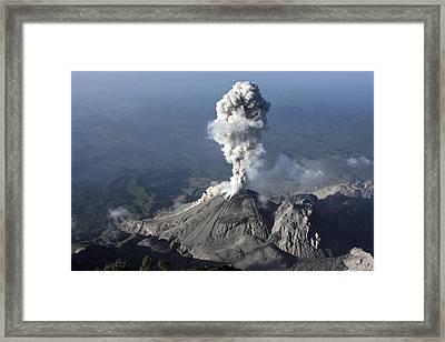 Santiaguito Ash Eruption, Guatemala Framed Print by Martin Rietze