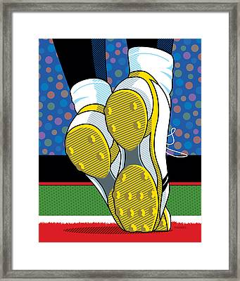 Santonio Holmes Toe Tap Framed Print by Ron Magnes