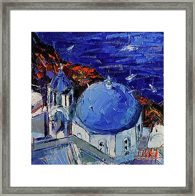 Santorini Blue Domed Church - Mini Cityscape #06 Framed Print