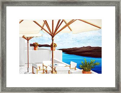 Santorini, Cafe On The Rim Too, Prints From Original Oil Panting Framed Print by Mary Grden Fine Art Oil Painter Baywood Gallery