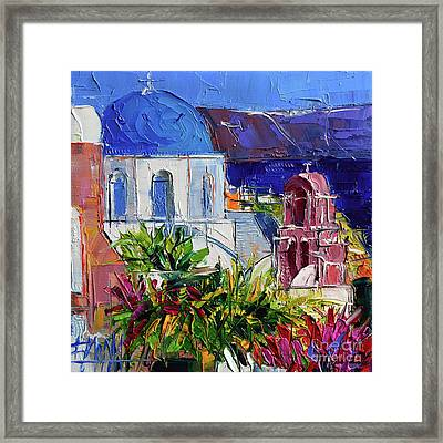 Santorini Church - Mini Cityscape #01 - Modern Impressionist Palette Knife Oil Painting Framed Print