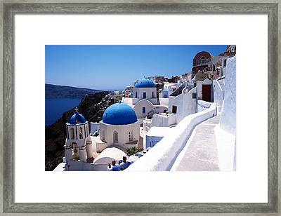Santorini Churches Framed Print