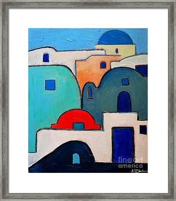 Santorini Cityscape Framed Print by Ana Maria Edulescu