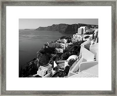 Santorini Cliffs In Black And White Framed Print by Lucinda Walter