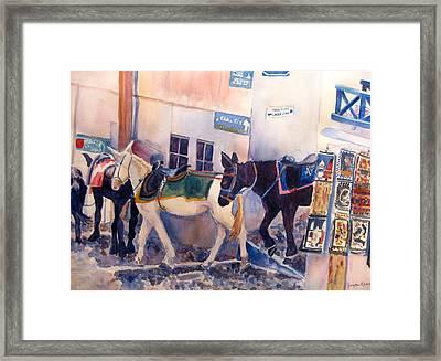 Santorini Donkeys Framed Print by Joyce Kanyuk