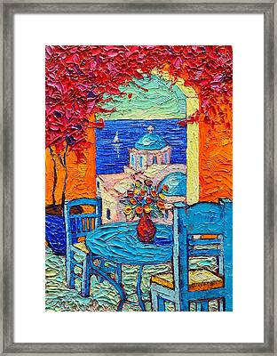 Santorini Dream Greece Contemporary Impressionist Palette Knife Oil Painting By Ana Maria Edulescu Framed Print by Ana Maria Edulescu