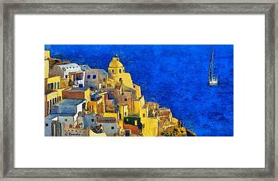 Santorini Framed Print by George Rossidis