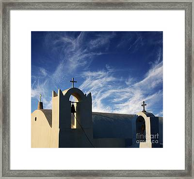 Framed Print featuring the photograph Santorini Greece Architectual Line 3 by Bob Christopher