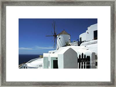 Framed Print featuring the photograph Santorini Greece Architectual Line 5 by Bob Christopher
