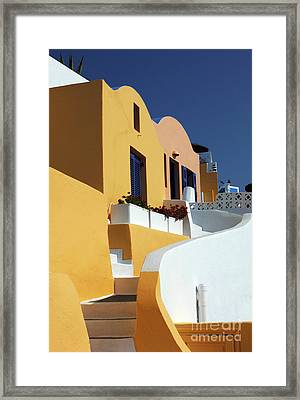 Framed Print featuring the photograph Santorini Greece Architectual Line by Bob Christopher