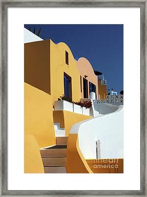 Santorini Greece Architectual Line Framed Print by Bob Christopher