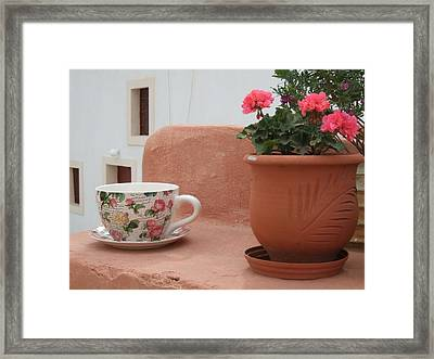 Santorini Greece Cafe Teacup And Flowerpot Framed Print by Nikki Bordon