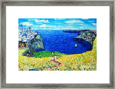 Santorini Honeymoon Framed Print by Ana Maria Edulescu