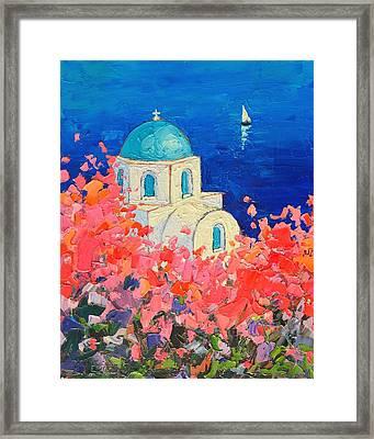 Santorini Impression - Full Bloom In Santorini Greece Framed Print