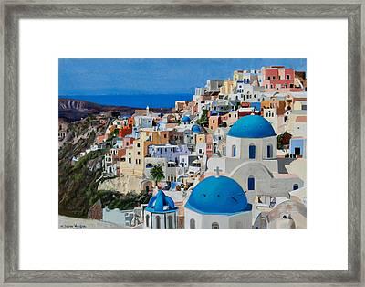 Santorini Framed Print by Mary Susan Vaughn