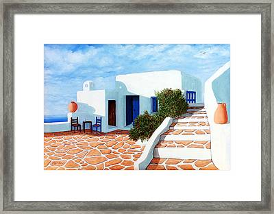 Santorini Morning, Prints From Original Oil Painting For Sale Framed Print by Mary Grden's Baywood Gallery