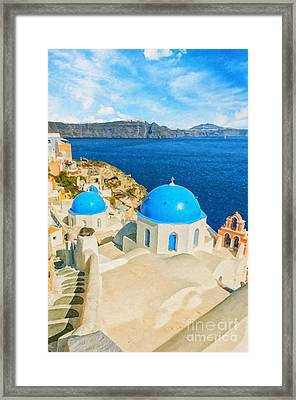Santorini Oia Church Caldera View Digital Painting Framed Print
