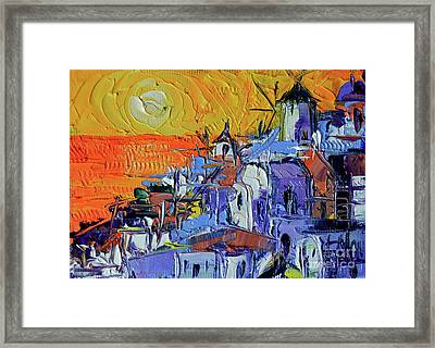 Santorini Oia Sunset - Mini Cityscape #03 Framed Print