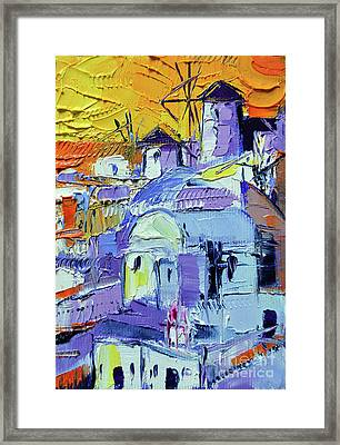Santorini Oia Sunset - Mini Cityscape #04 Framed Print
