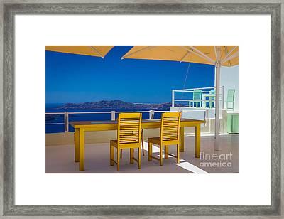 Santorini Patio Framed Print by Inge Johnsson