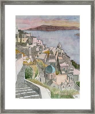 Santorini Framed Print by Rod Jones