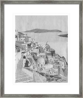 Santorini Sketch Framed Print by Rod Jones