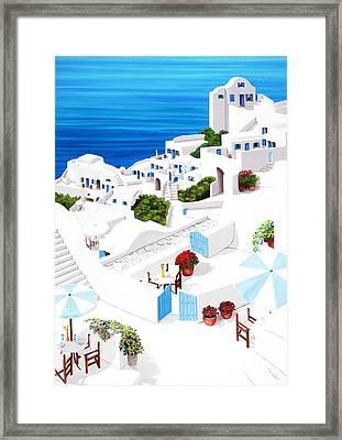 Remembering Santorini - Prints Of Original Oil Painting Framed Print by Mary Grden Fine Art Oil Painter Baywood Gallery