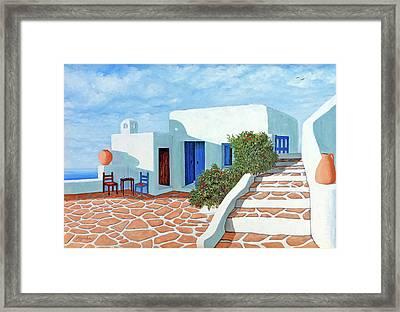Santorini Sunday - Prints From My Original Oil Painting Framed Print
