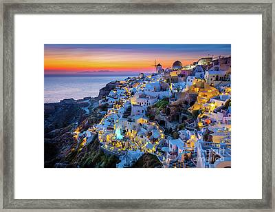 Santorini Sunset Framed Print by Inge Johnsson