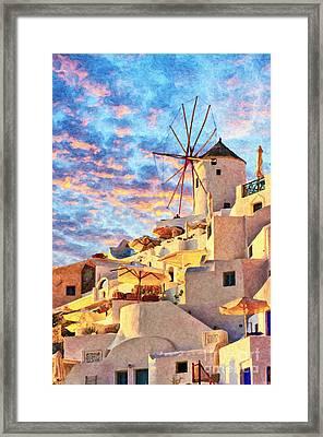 Santorini Windmill At Oia Digital Painting Framed Print